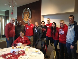 Don Hulslander and his wife joing Archie Griffin and six cadets for dinner prior to Hockey Night.