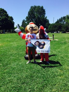 New Student and Buckeye Man at Student Sendoff 2 Aug 2015