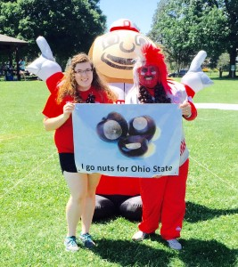 Current Student with Buckeye Man at Student Sendoff 2 Aug 2015