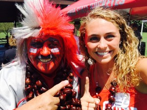 Buckeye Man and Sophia Balser at Student Sendoff 2 Aug 2015